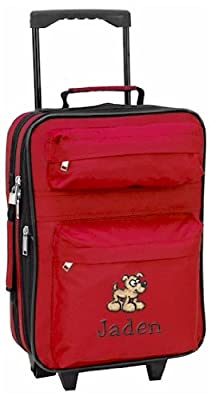 Kids embroidered rolling carry on - Red from Kids Travel World