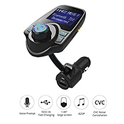 Sminiker Wireless In-Car FM Transmitter Bluetooth Radio Adapter Stereo Music Modulator Car Kit With USB Car Charger and 1.44 Inch Display,Hands Free Calling and Support TF/Micro SD Card