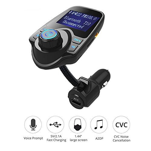 Sminiker Wireless In-Car FM Transmitter Bluetooth Radio Adapter Stereo Music Modulator Car Kit With USB Car Charger and 1.44 Inch Display,Hands Free Calling and Support TF/Micro SD Card (Rf Modulator Wireless compare prices)