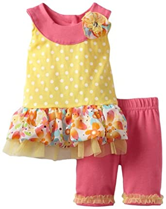 Little Lass Baby-Girls Infant 2 Piece Dress Set with Neck Detail, Yellow, 6-9 Months