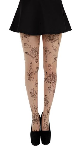 Pamela Mann Floral Tattoo Tights -Nude/Black, One Size