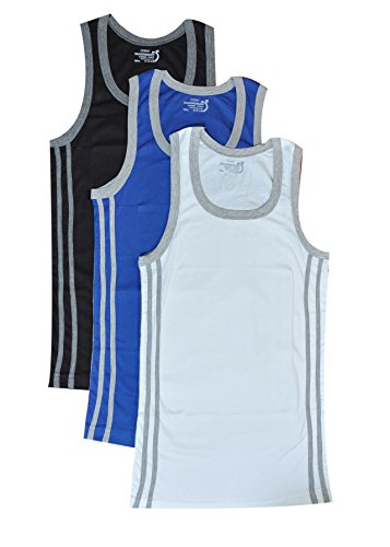 Macroman Men's Cotton Dario Vogue Vest (Pack Of 3) (M904-90-3_Multi-Coloured_Large)