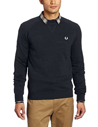 Fred Perry Men's Crew Neck Sweater, Vintage Navy Marl, X-Small