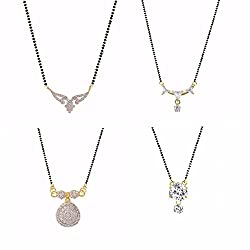 Archi Collection Pack of 4 CZ Mangalsutra for women