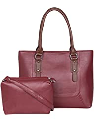 ADISA AD1015 Maroon Women Handbag With Sling Bag