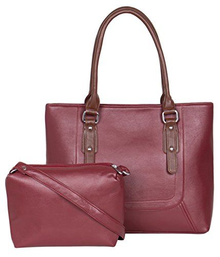 ADISA AD1015 Maroon Women Handbag With Sling Bag