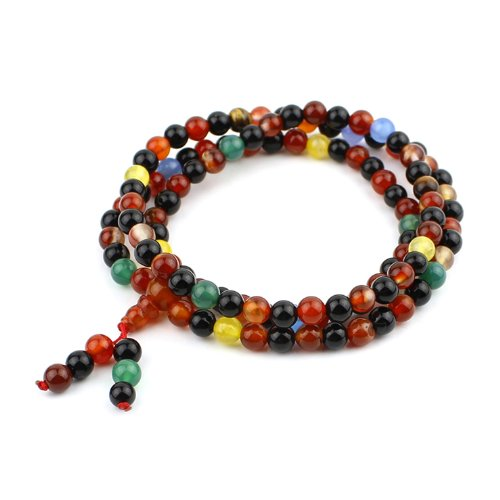 O-stone Brazil Rainbow Agate Necklace with 108 Prayer Beads 6mm Meditation Mala Grounding Stone Protection Tibet Style