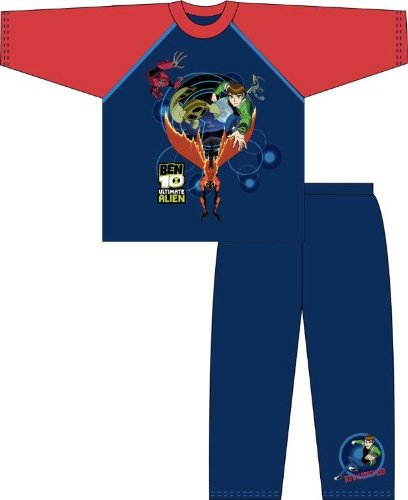 Childrens Boys Blue Ben 10 Ultimate Alien Pyjamas, Long Sleeve Top and Bottoms Nightwear Set