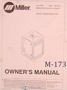 Miller Thunderbolt Welder Manual