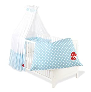 Pinolino 60969-2 - Set für Kinderbett, 4-tlg., 'Glückspilz' hellblau