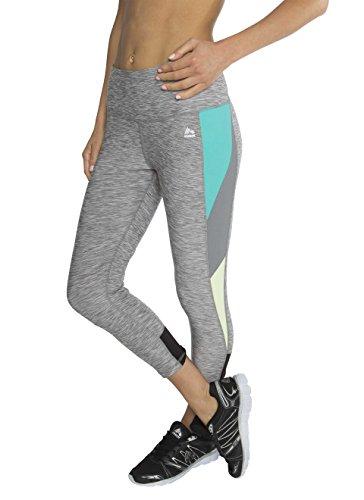 RBX Active Women's Striated Color Block Printed Capri Leggings Grey / Blue / Green Combo Medium