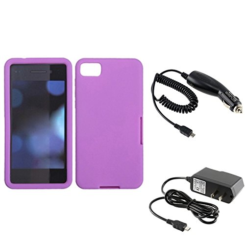 Eforcity® Purple Silicone Skin Soft Cover Case + Dc Car + Home Wall Charger Compatible With Blackberry Z10