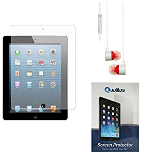 Qualitas Pack of 2 Matte Screen Protector for Apple iPad Air + White Stereo Earphone with Mic and Volume Control