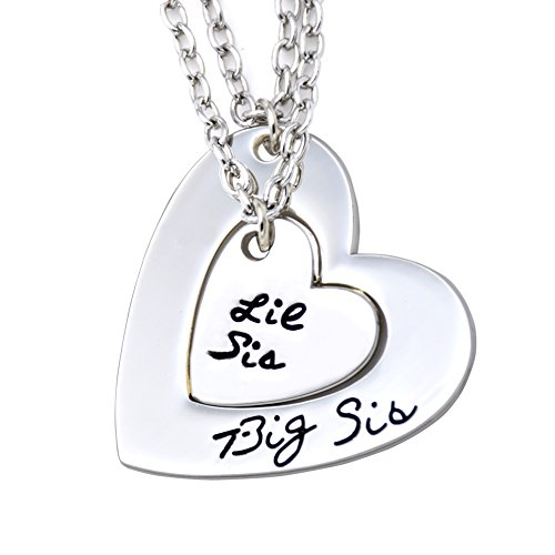 O.RIYA Big Sis Lil Sis Necklaces Set for 2 ,2pcs/set Silver Tone Big Sis Lil Sis Little Sister Bff Best Friends Forever Detachable Heart Broken Heart Necklace Set (Lil Sis Big Sis Mom Necklace compare prices)