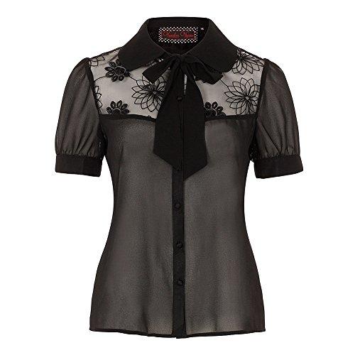 Camicia Blusa Leah Net Voodoo Vixen (Nero) - Medium