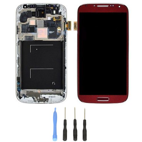 Generic Lcd Display Touch Screen Digitizer Assembly + Frame Bezel For Samsung Galaxy S4 Iv I337 M919 (Red)