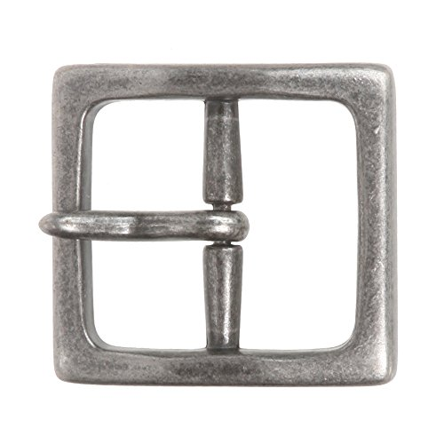 "1 1/2"" (40 mm) Nickel Free Center Bar Single Prong Square Belt Buckle Color: Antique Silver"