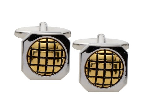 Code Red Gold and Imitation Rhodium Plated Cufflinks with Black Enamel Check Pattern