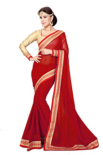 Sourbh Sarees Red Faux Georgette Lace Work Saree (with color option) for Women Party Wear