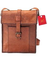 Leather Bag Real Vintage Genuine Side Sling Shoulder Messenger Bag Size (L) 9 (H) 11 (W) 3 By Pranjals House