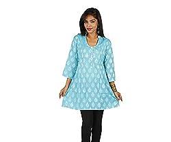 Ecostyle Women's Cotton Kurti (ECKS15_Blue_Medium)