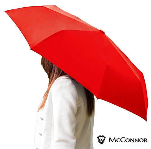 McConnor Automatic Travel Rain Umbrella - Auto Open Close Compact Folding - Windproof Strong and Sturdy Canopy - Heavy Duty Slim Lightweight - Fits in Luggage or Purse - Lifetime Replacement Guarantee (Small Handle Umbrella compare prices)