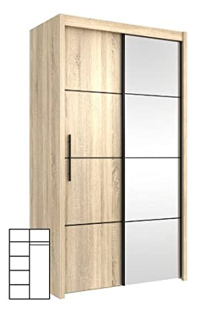 P4DS4112 Wardrobe with Sliding Doors and Mirror Sonoma Oak