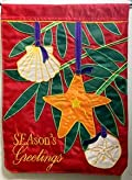Holiday Shells Applique Decorative Garden Flag