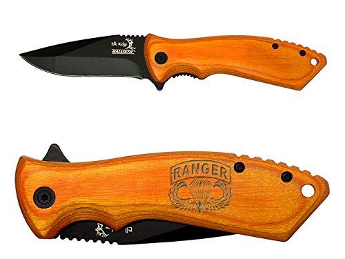 Airborne Ranger engraved Elk Ridge ER-A002LB Pakkawood Folding Ballistic Pocket Knife by NDZ Performance
