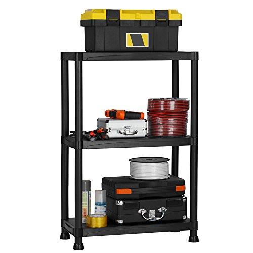 VonHaus 3 Tier Garage Shelving Unit - Heavy Duty Black Plastic Interlocking Free Standing Utility Storage Shelves - Unit: 36 x 24 x 12 inches (Shelf Unit Plastic compare prices)