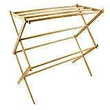 Relaxdays 10017158 Handtuchständer Bambus 8 Stangen klappbar Wäschetrockner
