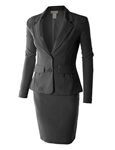 RubyK Womens Plus Size Classic Slim Fit Blazer and Skirt Suit Set