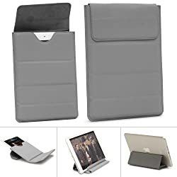 GreatShield VERSE Series Ultra Slim Leather Pouch with Foldable KickStand for Amazon Kindle Fire HD 7 Tablet (Gray)