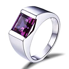buy Jewelrypalace Men'S 3.4Ct Square Created Alexandrite Sapphire 925 Sterling Silver Ring Size 8