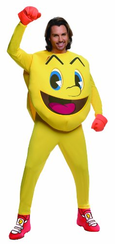 Adult Deluxe Official Pac Man Costume. Jumpsuit with Foam Body, Shoe Covers and Gloves.