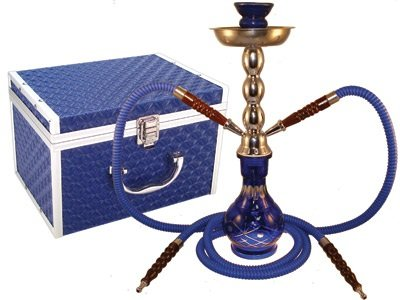 Hookah Diamond Cut Blue 2 Hose 17