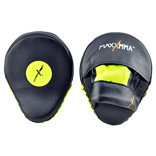 MaxxMMA Pro. Punch Mitts - Boxing Punching MMA Training Fitness Practice! (Black/Neon Yellow)