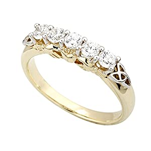Diamond Irish Claddagh Ring with Trinity Knot 14K Gold-Size 6.5