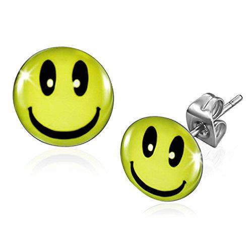 10 millimetri in acciaio inox Sorridere Smiley / Emoticon cerchio orecchini E696