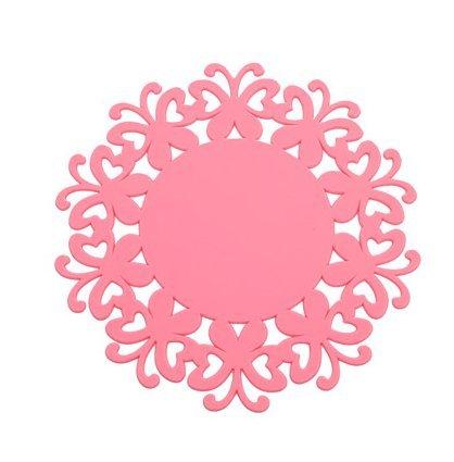 YOKIRIN PVC Untersetzer aus Filz für Tisch und Bar als Glasuntersetzer / Getränkeuntersetzer für Glas und Gläser Tischsets- Rosa (Size:Small,Durchmesser:12CM)