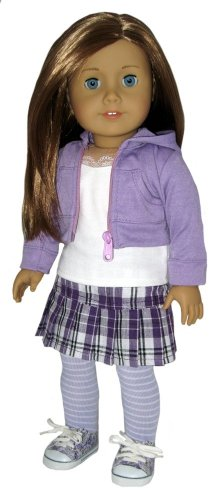 Floral Sneakers, Lavender Crop Hoodie, Tank, Plaid Skirt, and Tights. Doll Clothes fit 18