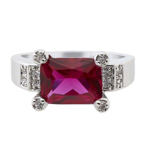 Rizilia Engagement Ruby Garnet 18K White Gold Gp Ring Lady Fashion Jewelry Size 7/O