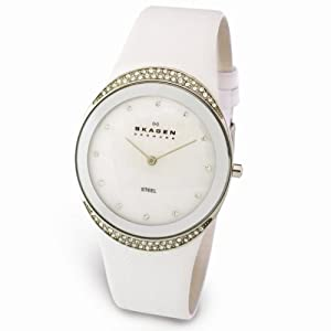 Skagen Men's 452LSLW Studio Leather Mother-Of-Pearl Dial Watch