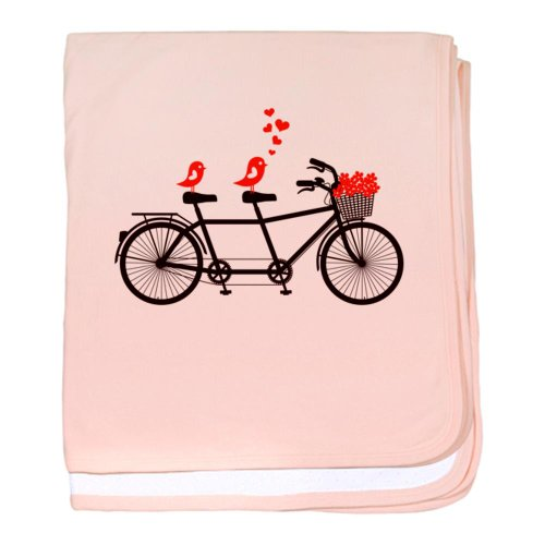 Cafepress Tandem Bicycle With Cute Love Birds, Vector Baby B Baby Blanket - Standard front-1047917