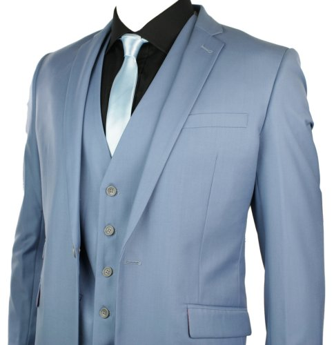 Mens Slim Fit Suit Powder Sky Baby Blue 3 Piece Work Occasional or Wedding Party Suit