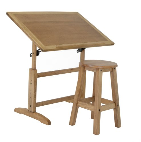 Studio Designs Antigua Table and Stool Set in Distressed Wheat, made of Poplar Wood with Veneered Finish 13272