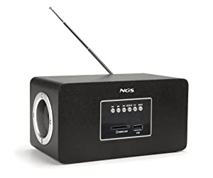 NGS Roomy - Reproductor MP3 con radio FM, color negro
