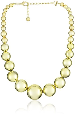 Kenneth Jay Lane Polished Gold Graduated Bead Necklace