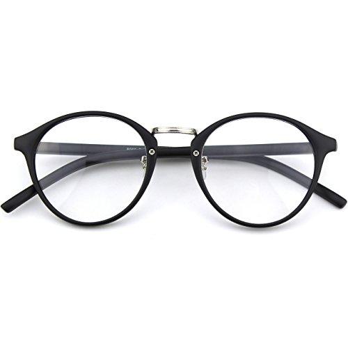 Glasses Queen 201565 Vintage Inspired Horned Rim Metal Bridge Clear Lens Eye Glasses,Matte Black