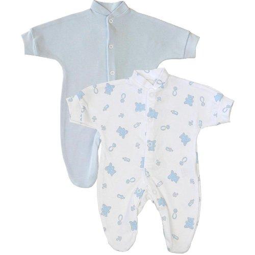 Premature Early Baby Clothes Pack of 2 Sleepsuits / Babygros 0-1.5lb,3.5lb,5.5lb,7.5lb Blue Prem 2